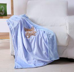 24 Units of Teddy Bear Baby Blanket In Blue - Micro Plush Blankets