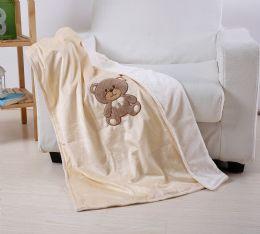 24 Units of Teddy Bear Baby Blanket In Beige - Micro Plush Blankets