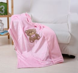 24 Units of Teddy Bear Baby Blanket In Pink - Micro Plush Blankets