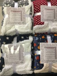 12 Units of Ambiance Sherpa 50 x 60 Throw Assorted - Micro Plush Blankets