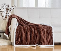12 Units of Braided Sherpa Throw In Brown - Fleece & Sherpa Blankets