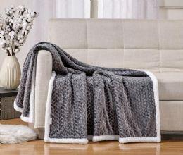 12 Units of Braided Sherpa Throw In Grey - Fleece & Sherpa Blankets