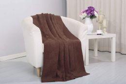 12 Units of Pietra Acrylic 50 X 60 Throw Chocolate - Fleece & Sherpa Blankets