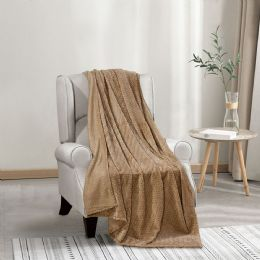12 Units of Chevron Jacquard 50 X 70 Throw In Taupe - Fleece & Sherpa Blankets