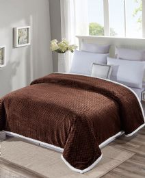 4 Units of Reversible And Comfortable Braided Oversized Sherpa Blanket King Size In Chocolate - Fleece & Sherpa Blankets