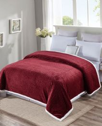 4 Units of Reversible And Comfortable Braided Oversized Sherpa Blanket King Size In Burgandy - Fleece & Sherpa Blankets