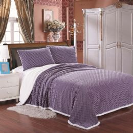 4 Units of Luxurious Soft Mermaid Sherpa Blanket In King Size Color Lavender - Fleece & Sherpa Blankets