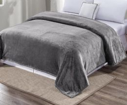 12 Units of Ultra Plush Solid Grey Color Full Size Blanket - Fleece & Sherpa Blankets