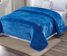 12 Units of Ultra Plush Solid Teal Color Full Size Blanket - Fleece & Sherpa Blankets