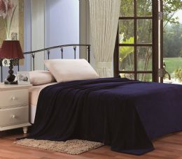 12 Units of Ultra Plush Solid Navy Color Queen Size Blanket - Fleece & Sherpa Blankets