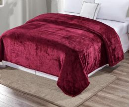 12 Units of Ultra Plush Solid Burgandy Color Queen Size Blanket - Fleece & Sherpa Blankets