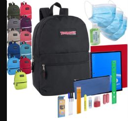 24 Units of Preassembled Pandemic Readiness 17 Inch Backpack With Masks, Hand Sanitizer & 20 Piece School Supply Kit - School Supply Kits