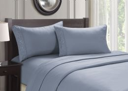 12 Units of Cozy Home Embroidery Sheets Queen Size In Blue - Bed Sheet Sets