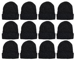12 Units of Yacht & Smith Winter Beanies, Wholesale Bulk Cold Weather Thermal Warm Stretch Skull Cap, Mens Womens Unisex Hat (12 Pack Black) - Winter Beanie Hats