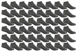 48 Units of Yacht & Smith Men's Poly Blend Light Weight No Show Loafer Ankle Socks Solid Gray - Mens Ankle Sock