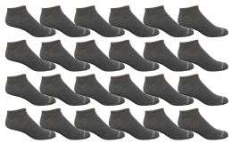 24 Units of Yacht & Smith Men's Light Weight Breathable No Show Loafer Ankle Socks Solid Charcoal Gray - Mens Ankle Sock