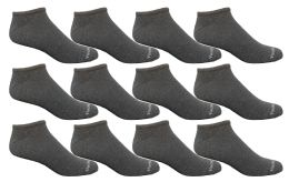 12 Units of Yacht & Smith 97% Cotton Men's Light Weight Breathable No Show Loafer Ankle Socks Solid Gray - Mens Ankle Sock