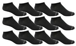 12 Units of Yacht & Smith Men's Light Weight Breathable No Show Loafer Ankle Socks Solid Black - Mens Ankle Sock