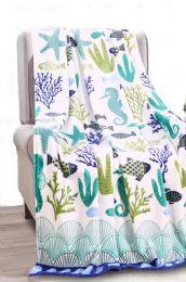 24 Units of Ocean Coral Tropical Throw - Micro Plush Blankets
