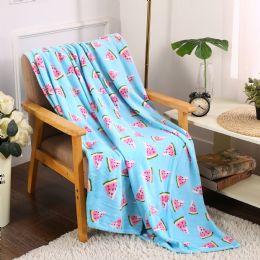 24 Units of Watermelon Tropical Throw - Micro Plush Blankets