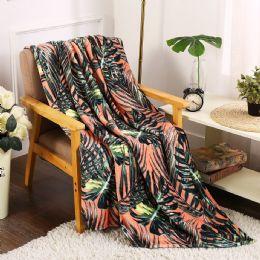24 Units of Leaf Tropical Throw - Micro Plush Blankets