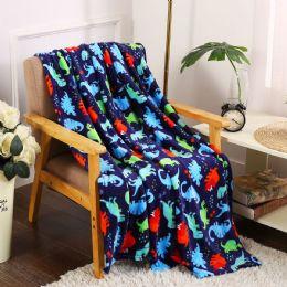 24 Units of Navy Dino Kids Throw - Micro Plush Blankets