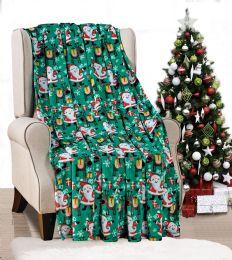 24 Units of Holiday Christmas Throw Blanket Soft And Plush 50x60 Santa - Micro Plush Blankets