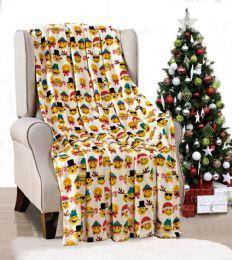 24 Units of Holiday Christmas Smiles Throw Blanket Soft And Plush 50x60 Santa - Micro Plush Blankets