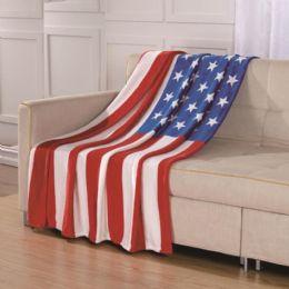 24 Units of American Flag Throw Design Micro Plush Throw Blanket 50 X 70 Multicolor - Micro Plush Blankets