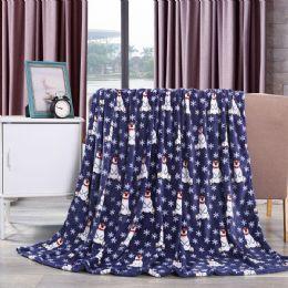 24 Units of Navy Polar Bear Throw Design Micro Plush Throw Blanket 50x60 Multicolor - Micro Plush Blankets