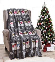 24 Units of Grey Snowman Holiday Throw Design Micro Plush Throw Blanket 50x60 Multicolor - Micro Plush Blankets