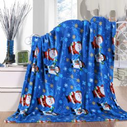 24 Units of Santa Snowman Holiday Throw Design Micro Plush Throw Blanket 50x60 Multicolor - Micro Plush Blankets