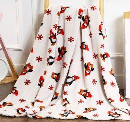 24 Units of Penguin Holiday Throw Design Micro Plush Throw Blanket 50x60 Multicolor - Micro Plush Blankets