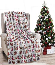 24 Units of Christmas Cats Throw White Holiday Design Micro Plush Throw Blanket 50x60 Multicolor - Micro Plush Blankets