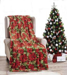 24 Units of Poinsettia Holiday Throw Design Micro Plush Throw Blanket 50x60 Multicolor - Micro Plush Blankets