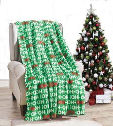 24 Units of Ho Ho Ho Holiday Throw Design Micro Plush Throw Blanket 50x60 Multicolor - Micro Plush Blankets
