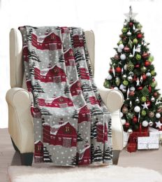 24 Units of Snowy Barn Holiday Throw Design Micro Plush Throw Blanket 50x60 Multicolor - Micro Plush Blankets