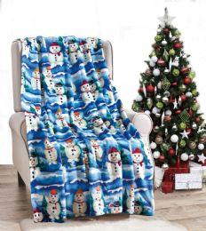 24 Units of White Snowman Holiday Throw Design Micro Plush Throw Blanket 50x60 Multicolor - Micro Plush Blankets