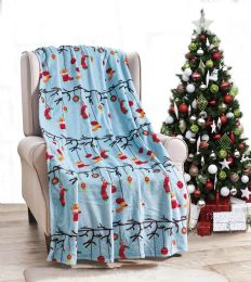 24 Units of Ornaments Holiday Throw Design Micro Plush Throw Blanket 50x60 Multicolor - Micro Plush Blankets