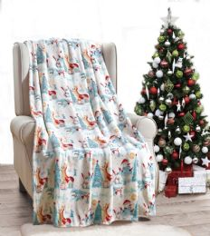 24 Units of Forest Friends Holiday Throw Design Micro Plush Throw Blanket 50x60 Multicolor - Micro Plush Blankets