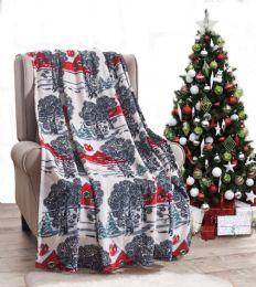 24 Units of Winter Barn Holiday Throw Design Micro Plush Throw Blanket 50x60 Multicolor - Micro Plush Blankets