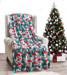 24 Units of Pickup Truck Holiday Throw Design Micro Plush Throw Blanket 50x60 Multicolor - Micro Plush Blankets
