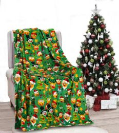 24 Units of Holiday Funny Faces Holiday Throw Design Micro Plush Throw Blanket 50x60 Multicolor - Micro Plush Blankets
