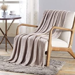 12 Units of V Collection Flannel 50 X 60 Throw In Ivory - Micro Plush Blankets