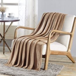 12 Units of V Collection Flannel 50 X 60 Throw In Tan - Micro Plush Blankets