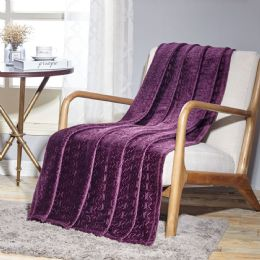 12 Units of Sabina Embossed Geometric Pattern Soft Flannel Throw Blanket 50x60 In Plum - Micro Plush Blankets