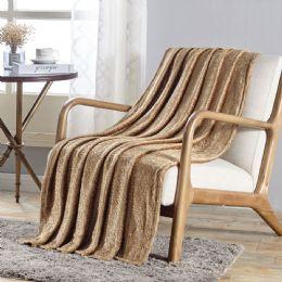 12 Units of Sabina Embossed Geometric Pattern Soft Flannel Throw Blanket 50x60 In Tan - Micro Plush Blankets