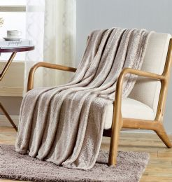 12 Units of Sabina Embossed Geometric Pattern Soft Flannel Throw Blanket 50x60 In Ivory - Micro Plush Blankets