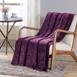 12 Units of Santorini Embossed Geometric Pattern Comfort And Soft Throw Blanket In Plum - Micro Plush Blankets