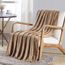 12 Units of Santorini Embossed Geometric Pattern Comfort And Soft Throw Blanket In Tan - Micro Plush Blankets
